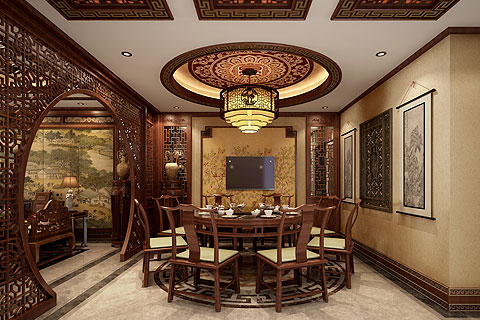 秦皇島別墅古典中式裝修設計案例—沉靜含奢華 古樸融安逸