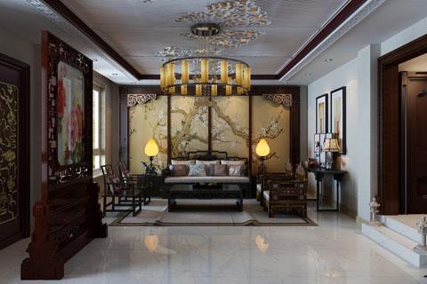 高碑店280平古典中式家裝裝修設計效果圖